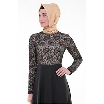 Nidya Moda Tesettür  Kadýn Siyah Üstü Dantel Abiye Elbise-4045S
