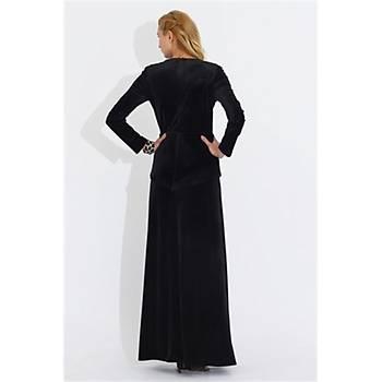 Nidya Moda Büyük Beden Kadife Peplumlu Uzun Elbise-4044S