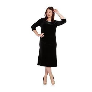 Nidya Moda Büyük Beden Pilili Ýnci Yaka Elbise-4074S
