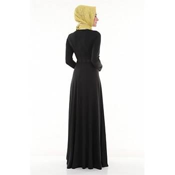 Nidya Moda Tesettür Kadýn Siyah Deri Kombin Elbise-4041S