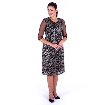 Nidya Moda Tül Kol Gold Brokar Dantel Siyah Abiye Elbise-4135S