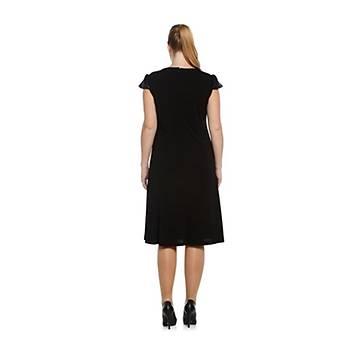 Nidya Moda Büyük Beden Pullu Payet Elbise-4061S