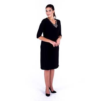 Nidya Moda Yaprak Taþlý Yaka Siyah Sandy Abiye Elbise-4141S