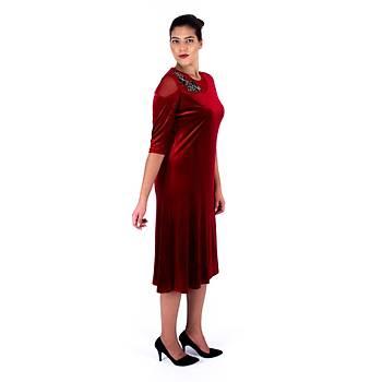 Nidya Moda Çiçek Motifli Tül Kombin Kýrmýzý Kadife Abiye Elbise-4123K