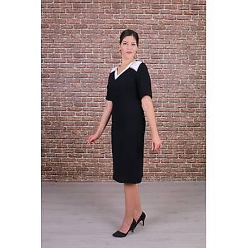 Nidya Moda Büyük Beden Kadýn Siyah Kombinli V Yaka Taþlý Abiye Elbise-4157S