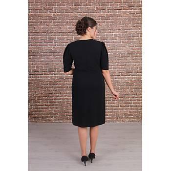Nidya Moda Büyük Beden Taþlý Yaka Siyah Abiye Elbise-4158S