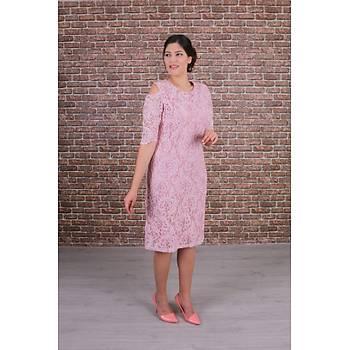 Nidya Moda  Büyük Beden Kadýn Pembe Omzu Pencereli Dantel Elbise-4146P