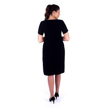 Nidya Moda Yaka Lazer Metal Aksesuarlý Siyah Krep Abiye Elbise-4105S