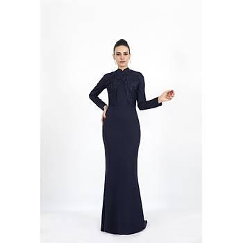 Nidya Moda Büyük Beden Kadýn Tesettür Lacivert Balýk Uzun Abiye Elbise-4154L