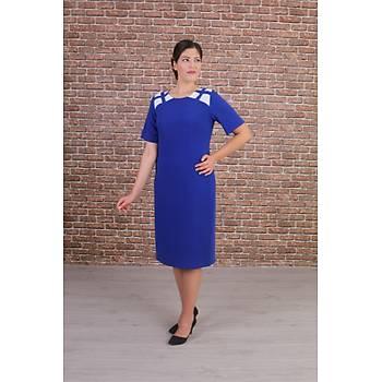 Nidya Moda Büyük Beden Kadýn Saks Omuz Kafes Kombinli Abiye Elbise-4152SX