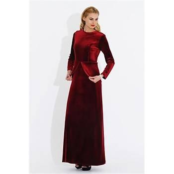 Nidya Moda Büyük Beden Kadife Peplumlu Uzun Elbise-4044B