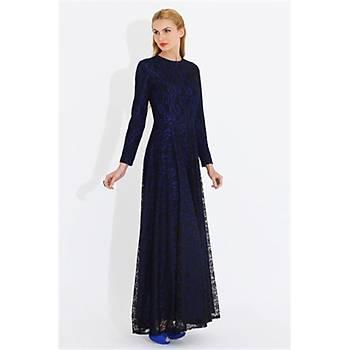 Nidya Moda Büyük Beden Dantelli Uzun Elbise-4051SX