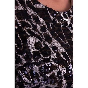 Nidya Moda Leopar Desen Pullu Payet Vizon Abiye Elbise-4121V