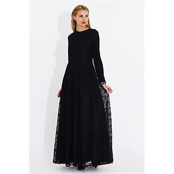 Nidya Moda Büyük Beden Dantelli Uzun Elbise-4051M