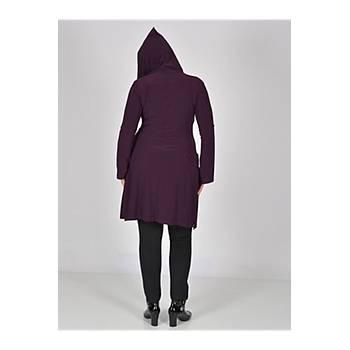 Nidya Moda Büyük  Beden Mürdüm Kapþonlu Ceket-1016SM