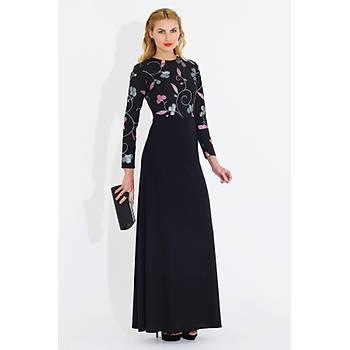 Nidya Moda Kadýn Siyah Üstü Çiçekli Uzun Elbise-4043ÇS