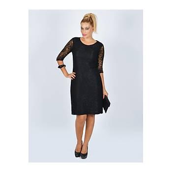 Nidya Moda Büyük Beden Yarým Kol Siyah Dantel Abiye Elbise-4009DS