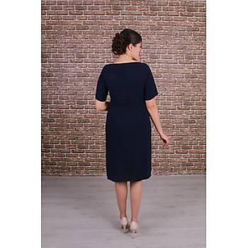 Nidya Moda Büyük Beden Kadýn Lacivert Ön Dalga Sarmal Dantel Kombinli Krep Elbise-4162L