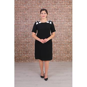 Nidya Moda Büyük Beden Kadýn Siyah Omuz Kafes Kombinli Abiye Elbise-4152S