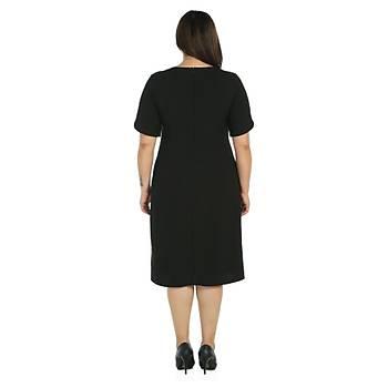 Nidya Moda Büyük Beden Detay Krep Elbise-4067S