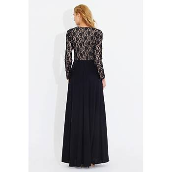 Nidya Moda Kadýn Siyah Üstü Dantel uzun Elbise-4045DS