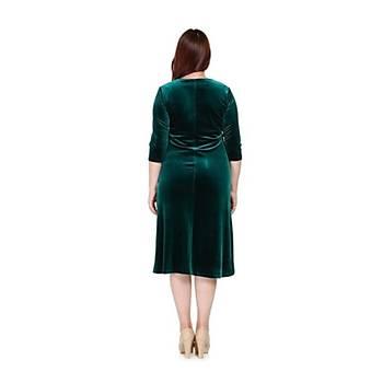 Nidya Moda Büyük Beden Lazer Taþlý Abiye Kadife Elbise 4072AY