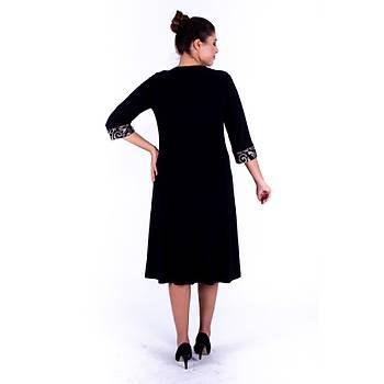 Nidya Moda Roba Ve Manþet Gold Brokar Dantel Siyah Sandy Abiye Elbise-4143S