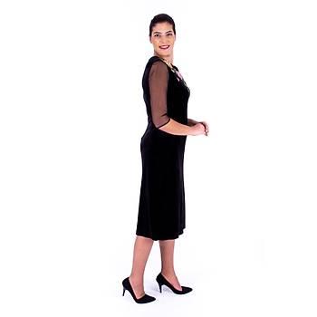 Nidya Moda Tül Kol Gül Aplik Yaka Siyah Kadife Abiye Elbise-4125S
