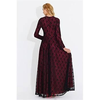 Nidya Moda Büyük Beden Dantelli Uzun Elbise-4051F