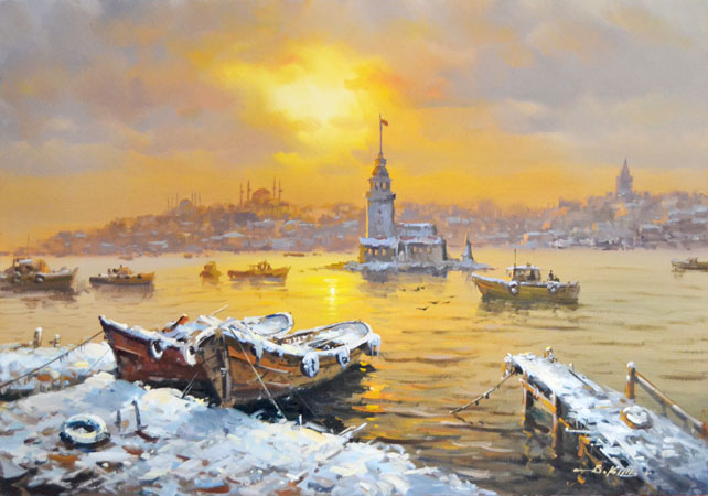 Karda Kiz Kulesi Yağlıboya Tablo Modern Tablolar Istanbul