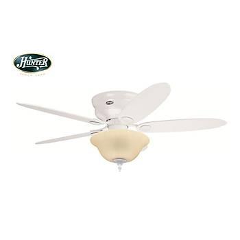 Hunter - Low Profile Beyaz - Alçak Tavanlar Ýçin - 112/132 Cm. Aydýnlatmalý Tavan Vantilatörü