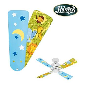 Hunter - Çocuk Odasý Bayport Modeli Ýçin Ay ve Yýldýz - Orman Desenli Kanatlar