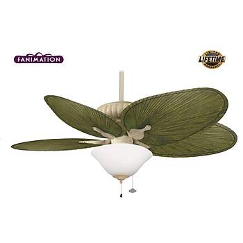 Fanimation - Belleria Latte - 132 Cm. Palmiye Kanatlı Dış Mekan Aydınlatmalı Tavan Vantilatörü