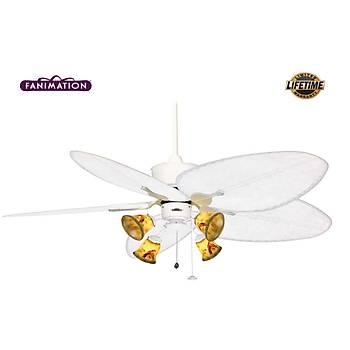 Fanimation - Islander Mat Beyaz - 132 Cm. Palmiye Kanatlı Aydınlatmalı Tavan Vantilatörü