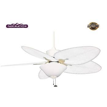 Fanimation - Islander Mat Beyaz - 132 Cm.  Beyaz Renk Bambu Örme Kanatlý Beyaz Buzlu Çukur Tabak Aydýnlatmalý Tavan Vantilatörü