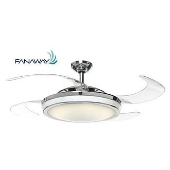 Fanaway -  Evo 1 Prevail Krom - 121 Cm. Aydýnlatmalý Kanatlarý Gizlenen Tavan Vantilatörü
