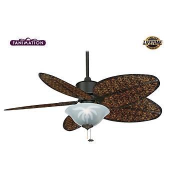 Fanimation - Islander Mat Siyah - 132 Cm. Dar Oval Antik Bambu Örme Kanatlý Palmiye Desenli Çukur Tabak Aydýnlatmalý Tavan Vantilatörü