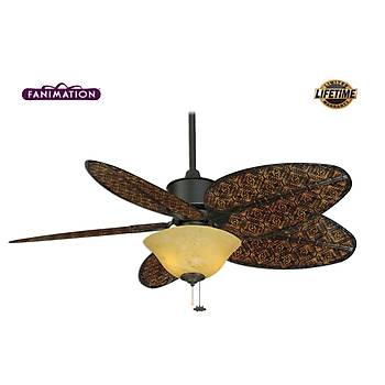Fanimation - Islander Mat Siyah - 132 Cm.  Antik Bambu Örme Palmiye Kanatlý Kehribar Girdap Desenli Çukur Tabak Aydýnlatmalý Tavan Vantilatörü
