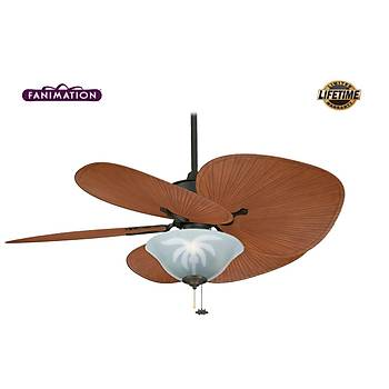 Fanimation - Islander Mat Siyah - 132 Cm. Palmiye Kanatlý Aydýnlatmalý Tavan Vantilatörü