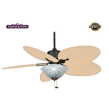 Fanimation - Islander Mat Siyah - 132 Cm. Palmiye Kanatlý Buzlu Cam Palmiye Desen Aydýnlatmalý Tavan Vantilatörü