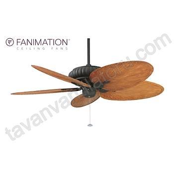 Fanimation - Belleria Dokulu Siyah - 132 Cm. Kahve/Kýzýl Renginde Plastik Palmiye Kanatlý Dýþ Mekan Tavan Vantilatörü