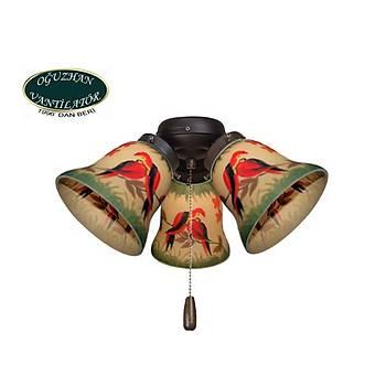 Hunter - El Boyama Papağan Desenli Zil Camlı 4lü Çağdaş Bronz  Aydınlatma