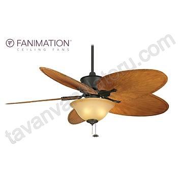 Fanimation - Islander Mat Siyah - 132 Cm. Dar Oval Palmiye Kanatlý Aydýnlatmalý Tavan Vantilatörü