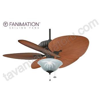 Fanimation - Belleria Dokulu Siyah 132 Cm. Palmiye Kanatlý Palmiye Desenli Çukur Tabak Aydýnlatmalý Tavan Vantilatörü