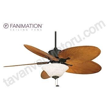Fanimation - Islander Mat Siyah - 132 Cm. Kahve Renk Palmiye Kanatlý Aydýnlatmalý Tavan Vantilatörü