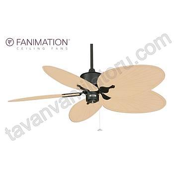 Fanimation - Islander Mat Siyah - 132 Cm. Sarý Renk Palmiye Kanatlý Tavan Vantilatörü