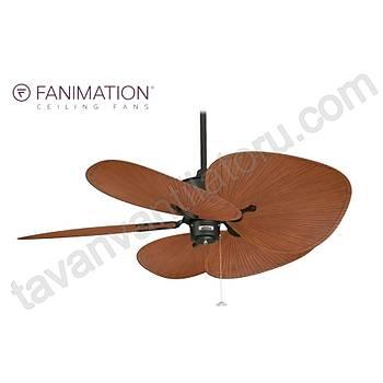 Fanimation - Islander Mat Siyah - 132 Cm. Kahve Renk Palmiye Kanatlý Tavan Vantilatörü