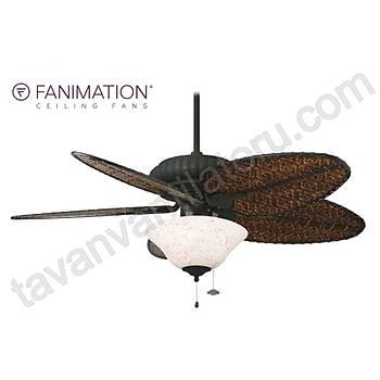 Fanimation - Belleria Dokulu Siyah 132 Cm. Bambu Örme Kanatlý Kýrmýzý Puantiyeli Çukur Tabak Aydýnlatmalý Tavan Vantilatörü
