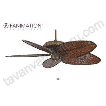 Fanimation - Belleria Kaplumbaða Kabuðu - 132 Cm. Antik Renk Bambu Örme Kanatlý Dýþ Mekan Tavan Vantilatörü