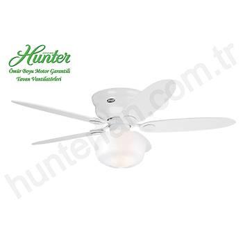 Hunter - Low Profile Beyaz - Alçak Tavanlar Ýçin - 112/132 Cm. Okul Tarzý Küre Aydýnlatma Aydýnlatmalý Tavan Vantilatörü